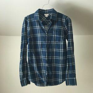 J. CREW Classic Blue Plaid Cotton Button Shirt Top